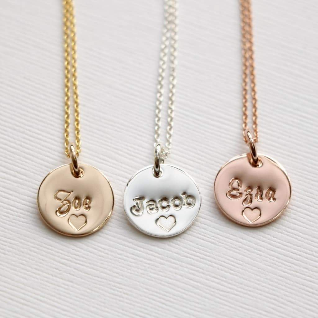 Gold Silver Pink Gold Name Necklace with Baby Name and Heart