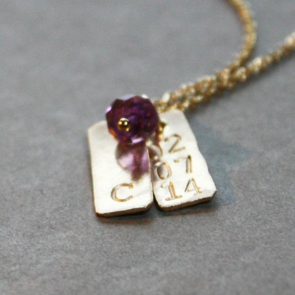 Tiny Baby Initial Birth date Birthstone Necklace