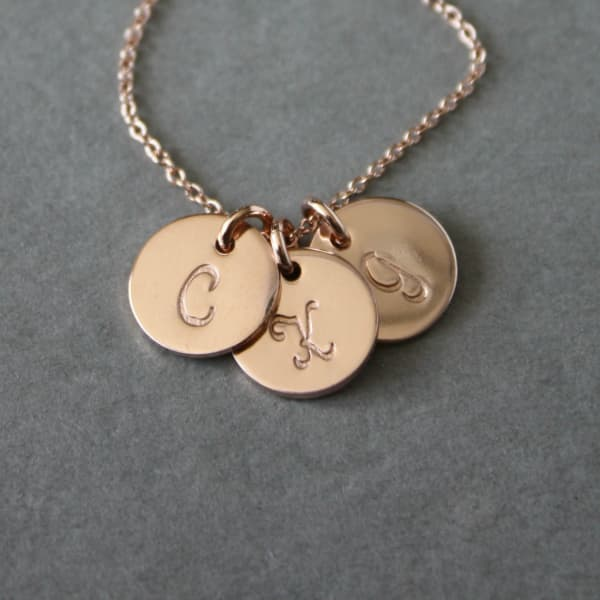 Tiny Rose Gold Fill Initial Necklace for Mom