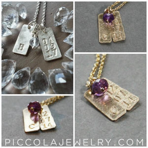 Tiny Initial Charm and Birthstone Mothers Necklace