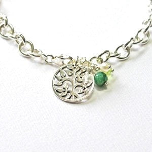 Silver Personalized Mommy Bracelet with Birthstones