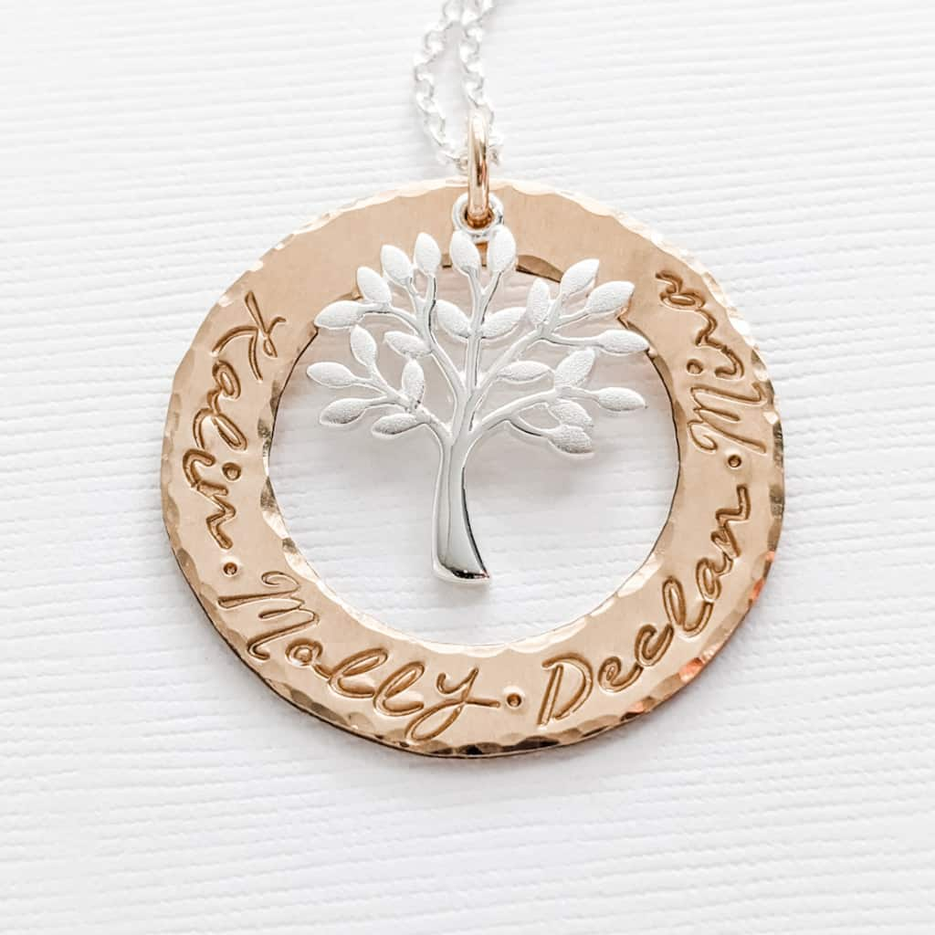 Tree of Life Family Pendant Necklace with Family Names
