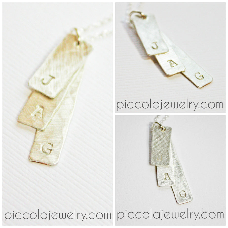 Silver Layered Tag Necklace