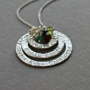 Triple Silver Washer Necklace with Names