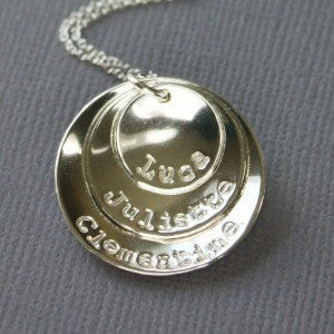 Silver Domed Stacked Disc Pendant with Names