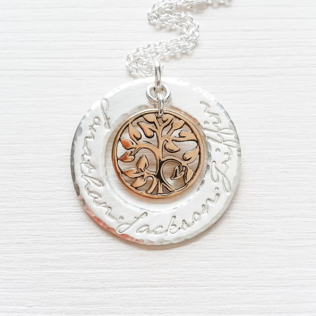 Tree of Life Two Tone Mothers Necklace with names - gifts for Grandmother