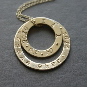 Modern Personalized Gold Washer Circle Necklace