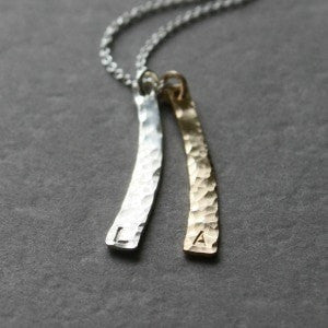 Curved Vertical Gold and Silver Neutral Initial Necklace