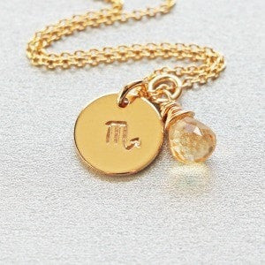 Gold Scorpio Horoscope Symbol Necklace
