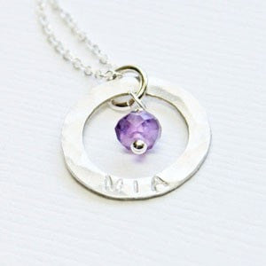 Tiny Circle Ring Pendant with Name and Birthstone