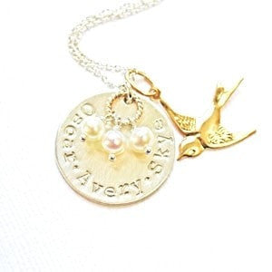 Family Nest hand stamped necklace