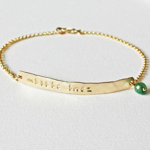 Gold Skinny Horizontal Bar bracelet with name and birthstone