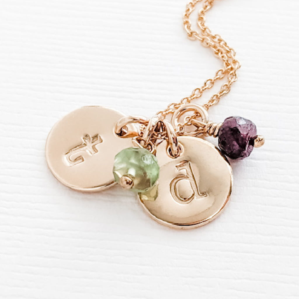Simple classic tiny gold initial birthstone necklace for Mom