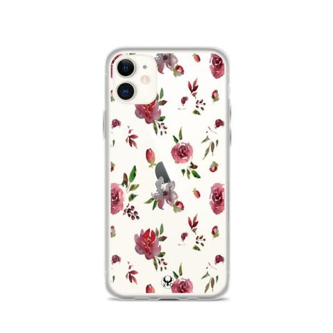 iPhone Cases Clear Painted Flowers-iPhone 11