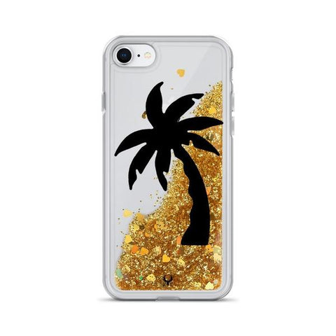 iPhone Cases Glitter Beach Palms-Gold-iPhone 7, iPhone 8