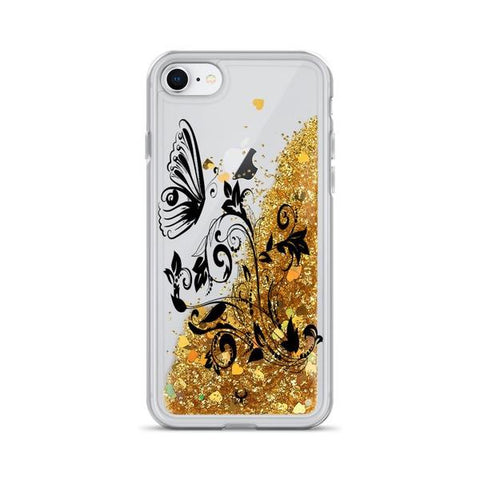 iPhone Cases Glitter Floral Art Drawing-Gold-iPhone 7, iPhone 8