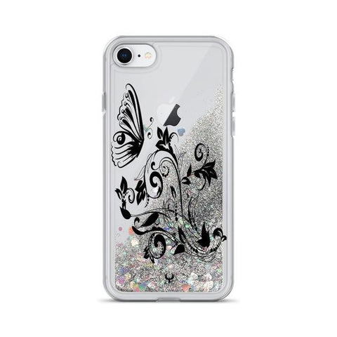 iPhone Cases Glitter Floral Art Drawing-Silver-iPhone 7, iPhone 8