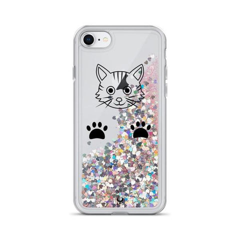 iPhone Cases Glitter Playful Cat-Pink-iPhone 7 & 8