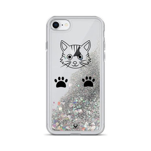 iPhone Cases Glitter Playful Cat-Silver-iPhone 7 & 8