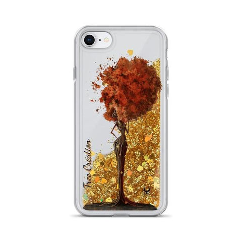 iPhone Cases Glitter Tree Creation-Gold-iPhone 7, iPhone 8