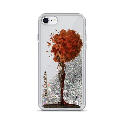 iPhone Cases Glitter Tree Creation-Silver-iPhone 7, iPhone 8