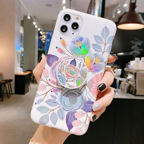iPhone Cases Laser Colorful Flower-Laser Purple-IPhone 11pro-