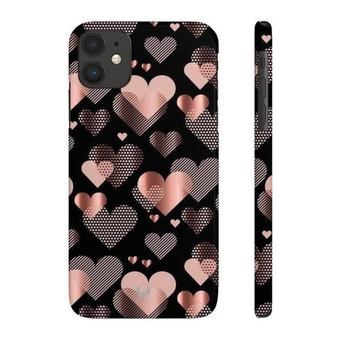 iPhone Cases Luxury Glossy Hearts-iPhone 11