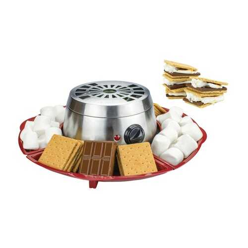 Brentwood Appliances TS-603 Indoor Electric Stainless Steel S'mores Maker with 4 Trays and 4 Roasting Forks