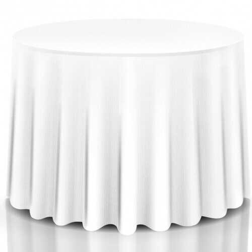 "10 pcs 90"" Home Restaurant Polyester Round Tablecloth - Color: White"