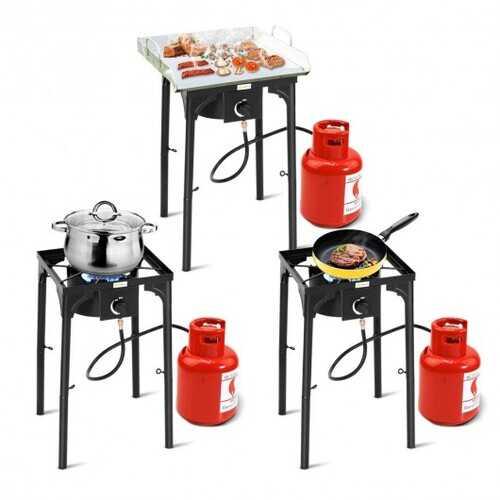 100 000-BTU Portable Propane Outdoor Camp Stove with Adjustable Legs - Color: Black