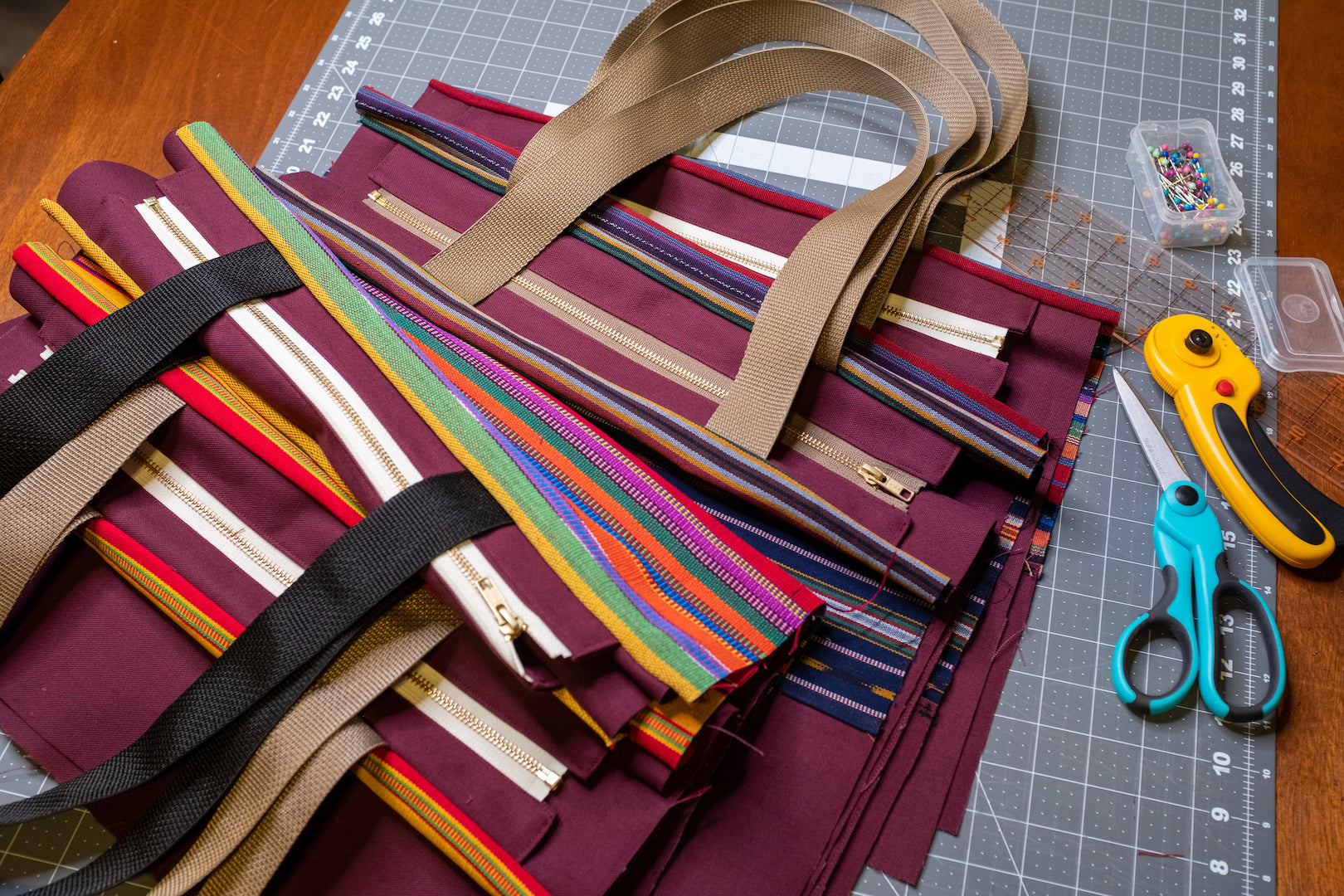 Starting to sew the tote bags.