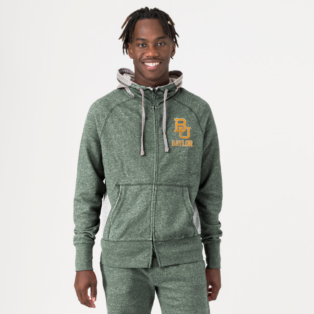 Baylor Mens Go-To Full Zip Hoodie Hunter Green
