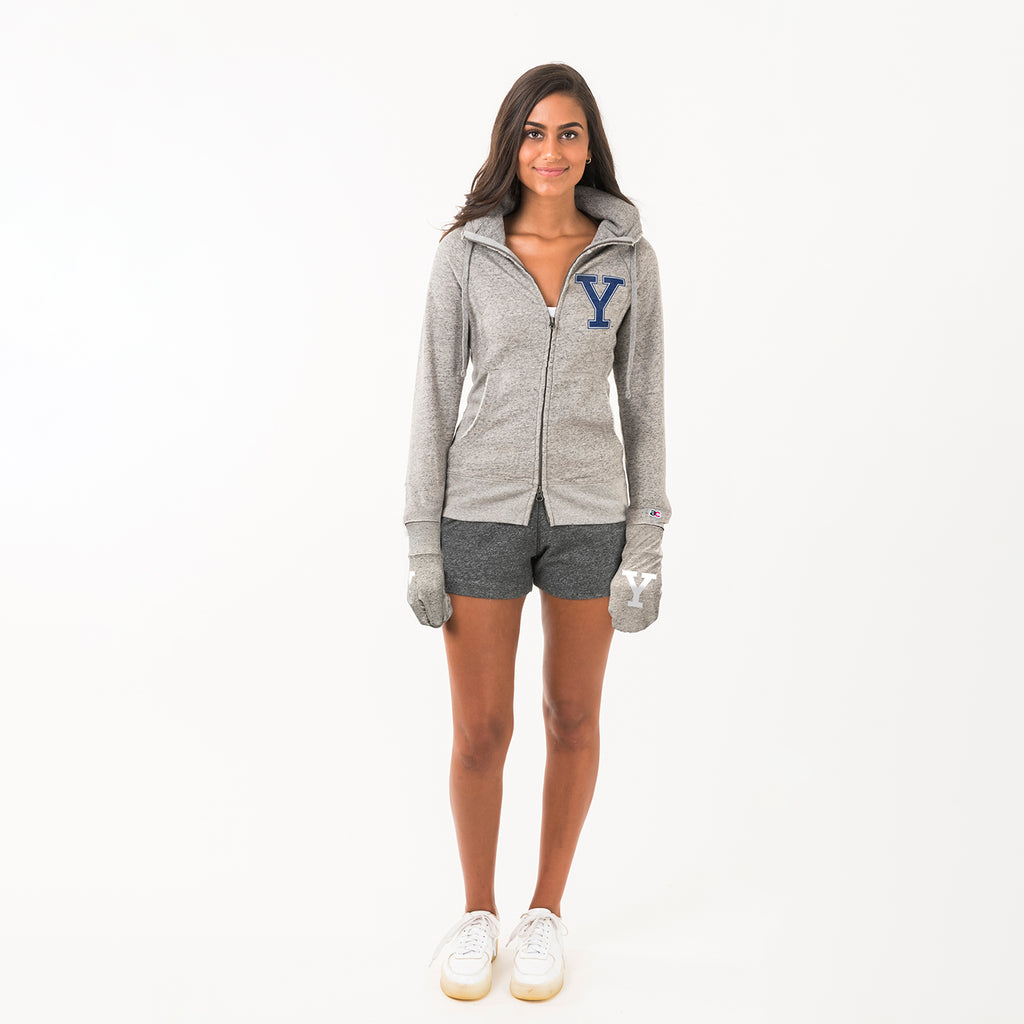 Yale Unisex Hoodie With Hands Grey - American Collegiate