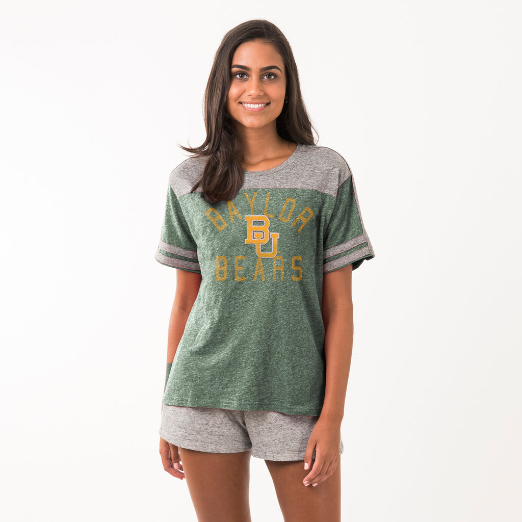 Baylor Womens Football Crew Neck Tee Hunter Green
