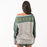 Baylor Womens 80'S Oversized V Sweatshirt Hunter Green