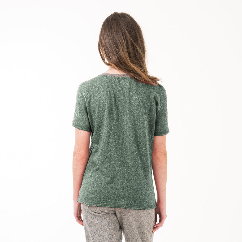 Baylor Womens Essential V Neck Tee Hunter Green