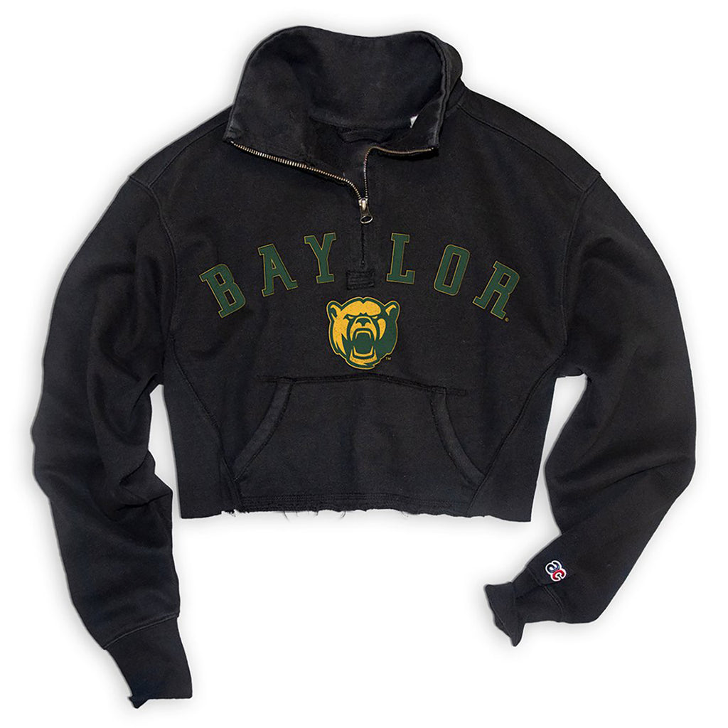ac core Baylor Womens Essential Cropped 1/4 Zip Sweat