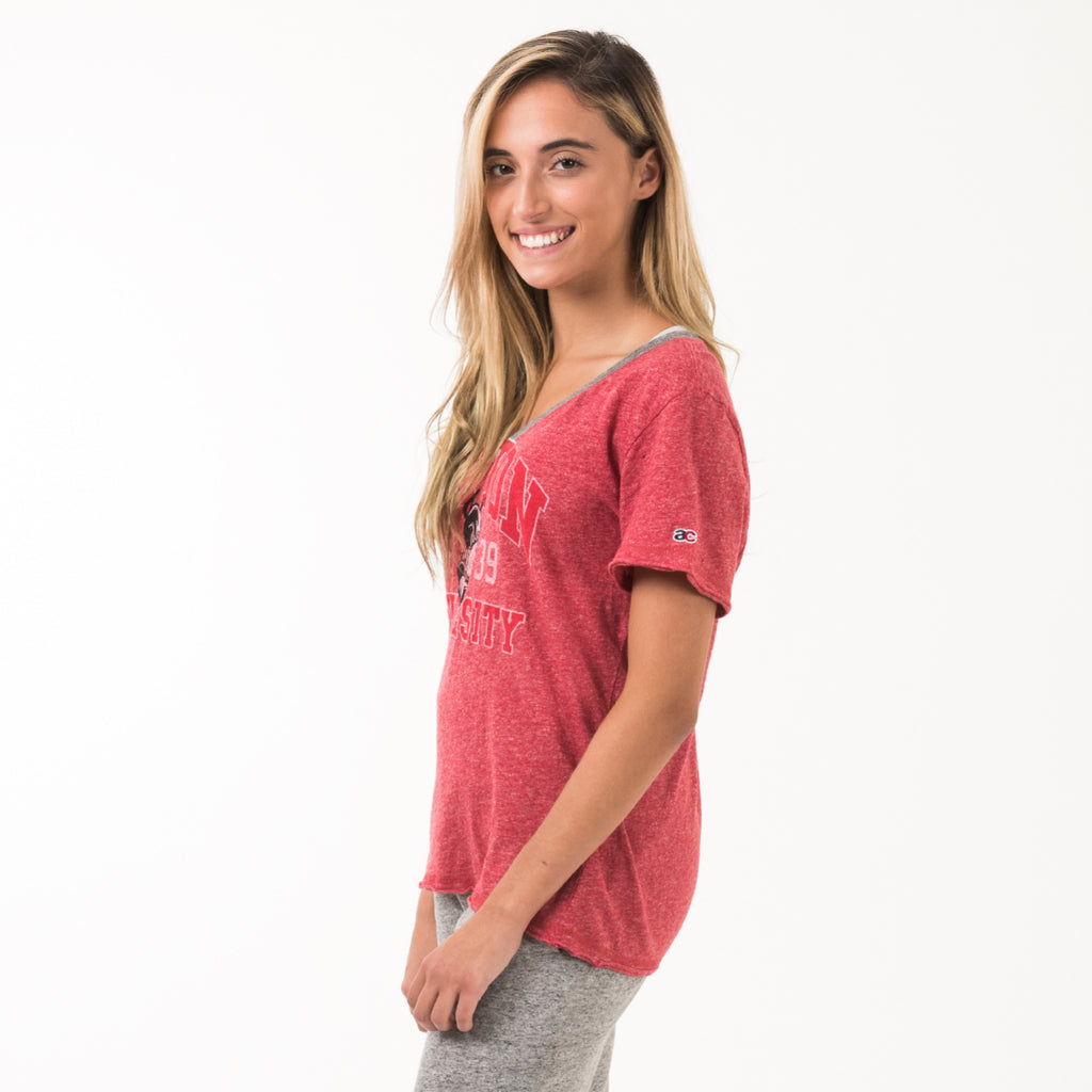 Boston  V Neck Tee Shirt True Red