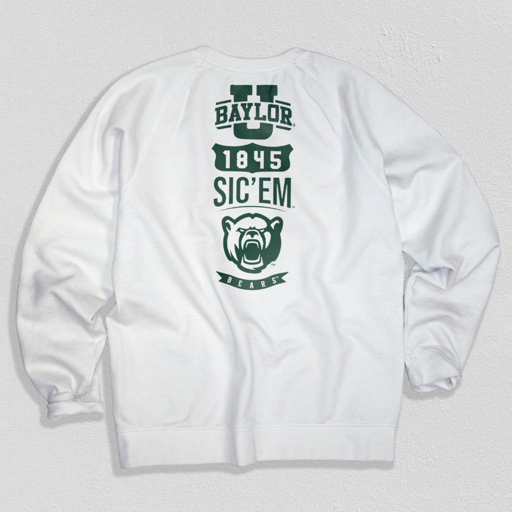 Baylor Heavyweight Crewneck Sweat White - American Collegiate