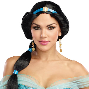 Harem Princess Wig with Attached Ribbon and Pearl Jewel