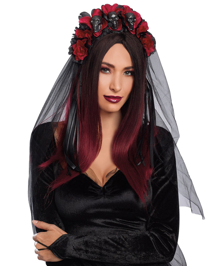 Gothic Flower and Skull Headpiece