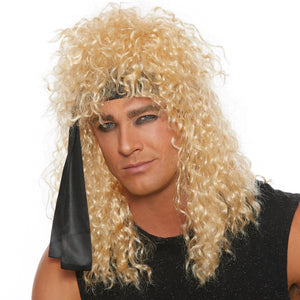 Heavy Metal Rocker Wig with Black Head Wrap