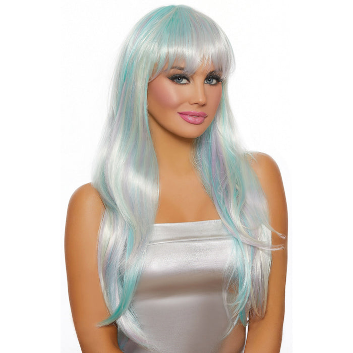 Long Straight Layered Opal Mix Wig