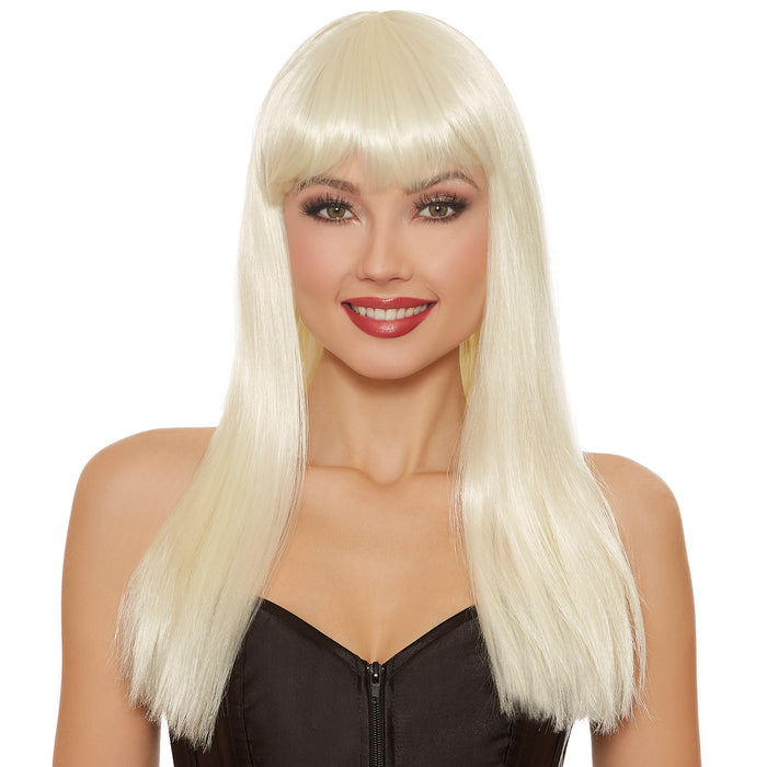 Long Straight Platinum Blonde Wig