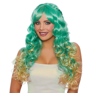 Long Wavy Ombré Wig with Halo Braids