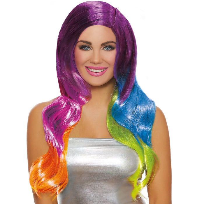 Long Wavy Rainbow Ombré Wig