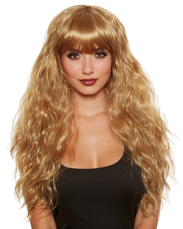 Long Relaxed Beach Wave Wig With Bangs