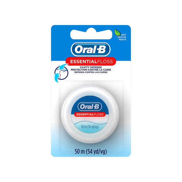 Oral B Essential Mint Waxed Dental Floss 50M