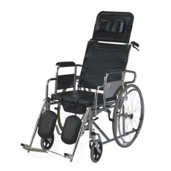 MO608GC | Steel Commode Reclining Wheelchair 30Kg - Capacity 100Kg