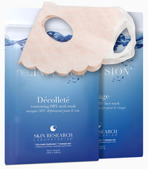 neuINFUSION™ Dry Sheet Masks standing together with a mask draped over the top of them.